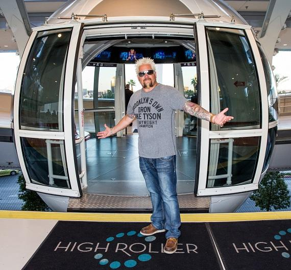 Guy Fieri rides the High Roller at The LINQ Promenade