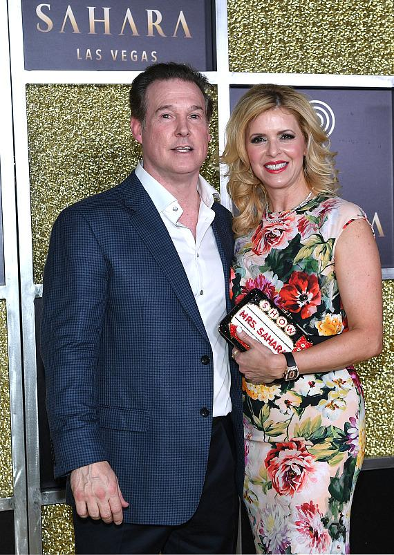 Alex Meruelo, owner of SAHARA Las Vegas, accompanied by his wife, Liset, stop for photos during an exclusive unveiling event of the new SAHARA Las Vegas
