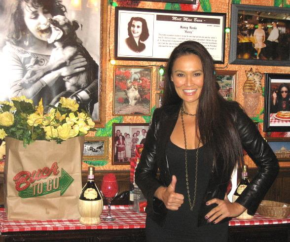 Tia Carrere Celebrates at Buca di Beppo