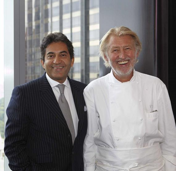 Rajesh Jhingon, general manger of Mandarin Oriental, and Chef Pierre Gagnaire and Rajesh Jhingon