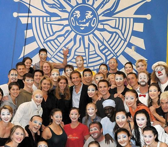 Princess Beatrice and David Clark with the cast of O by Cirque du Soleil