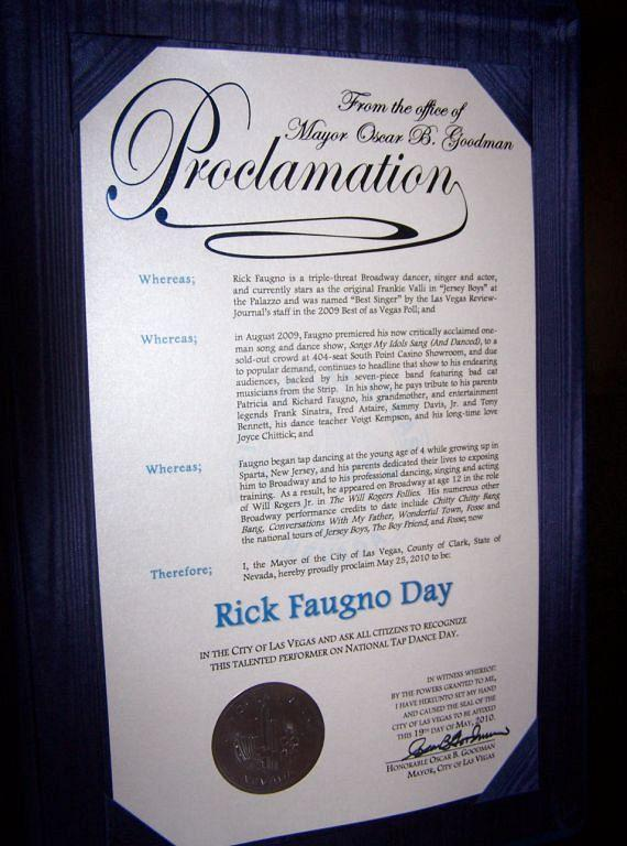 Proclamation Photo - Rick Faugno Day