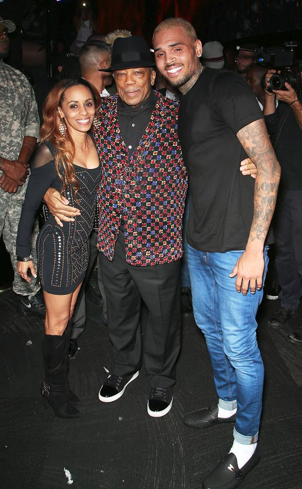 Quincy Jones and Chris Brown at Drai's Nightclub Las Vegas on ...