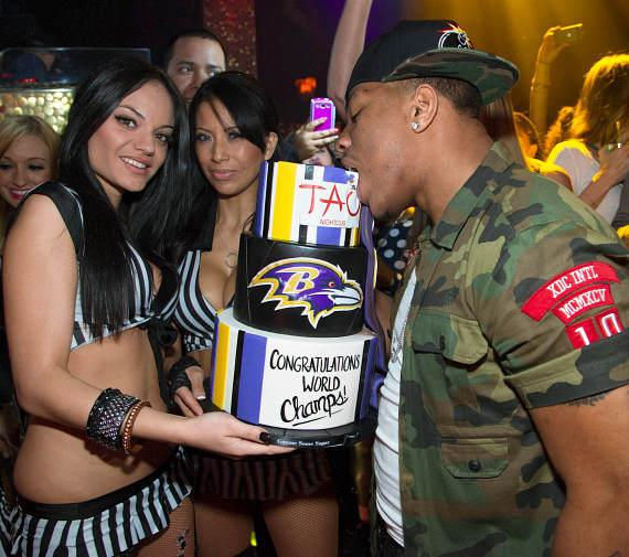 Ray Rice with cake at TAO