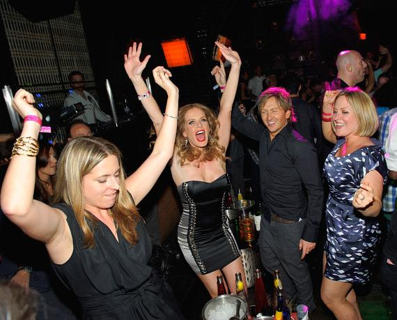 Rebecca Mader dances with friends at LAVO Las Vegas