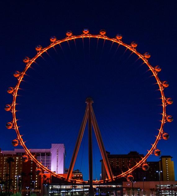 The High Roller at The LINQ turns orange in honor of 'Go Orange Day' on September 4, 2014