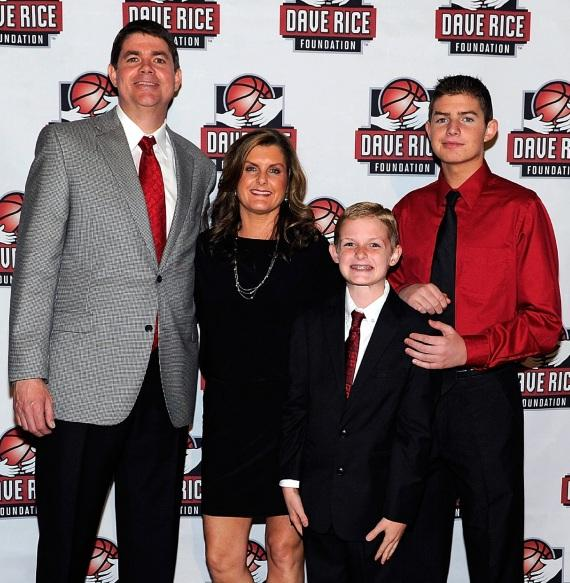 Dave Rice , Mindy Rice and sons Dylan and Travis attend the second annual 'An Evening with Dave Rice' on Friday, May 3, 2013