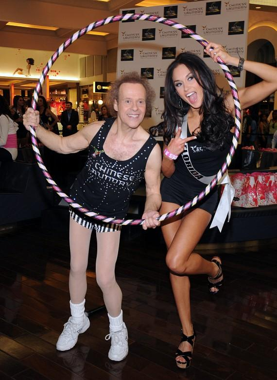 Richard Simmons and Hula Hoop contest winner, Lissette Garcia, Miss Florida