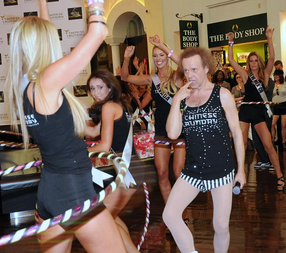 Richard Simmons and Miss USA contestants at Miracle Mile Shops