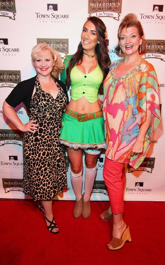 Richel Kompst and Lori Legacy from Menopause the Musical posing on the red carpet with Shamrock babe