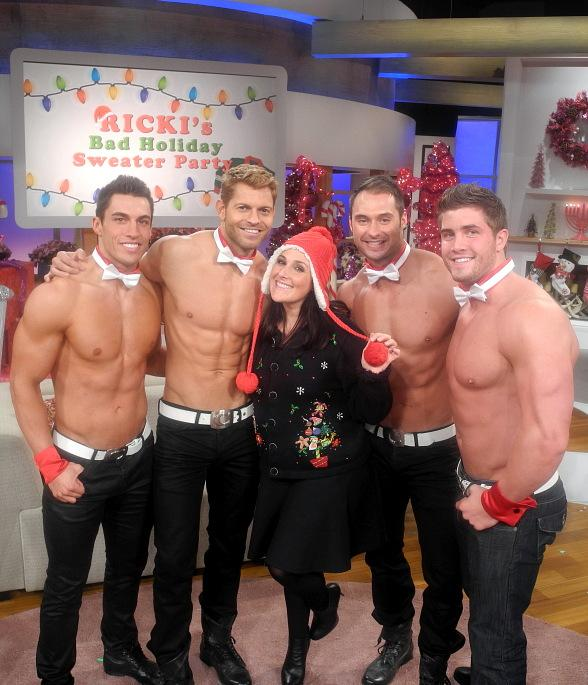 Chippendales dancers Jon Howes, Jaymes Vaughan, James Davis and Gavin McHale with Ricki Lake