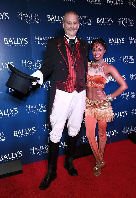 Ringmaster Willy Whipsnade and The Elastic Dislocationist on the red carpet at opening night of Masters of Illusion at Bally's Las Vegas