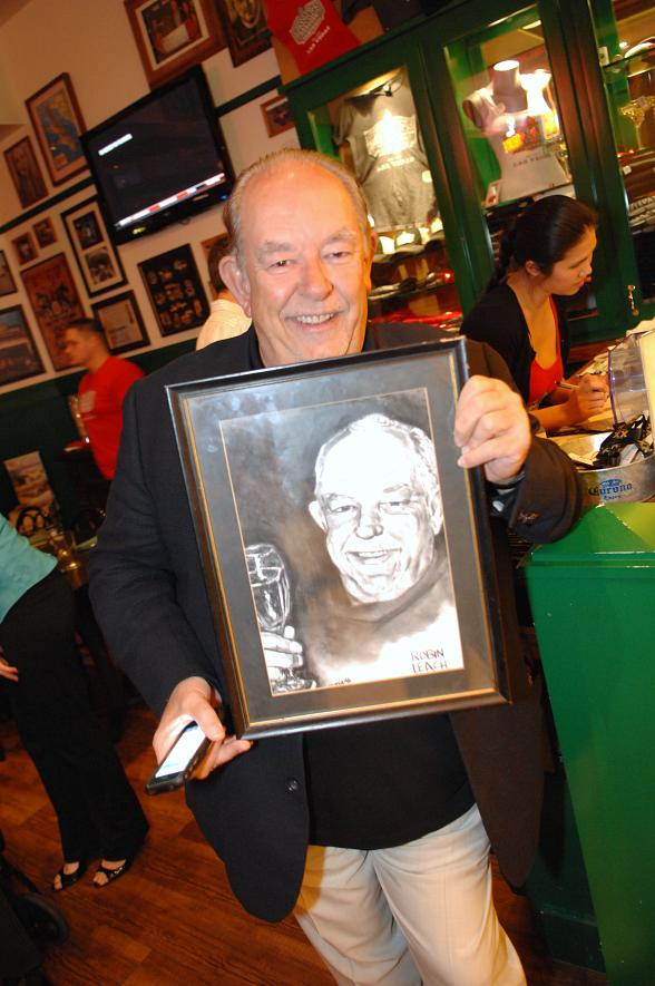 Robin Leach with his charcoal at Hussong's Las Vegas