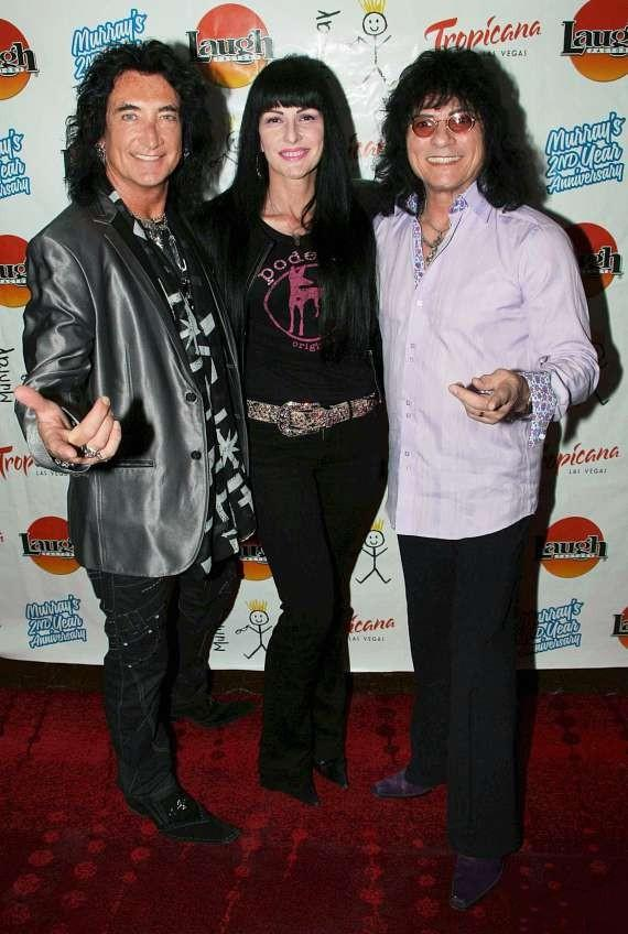 "Musician Robin McAuley and ""Raiding the Rock Vault"" star Paul Shortino with wife Carmen Shortino (C) at Tropicana Las Vegas"