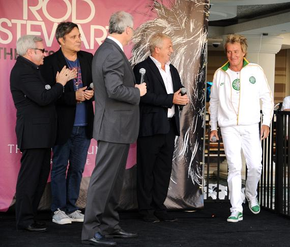 AEG and Caesars Palace executives welcome legendary rocker Rod Stewart with a fan-packed poolside celebration on the eve of his debut performance at The Colosseum at Caesars Palace