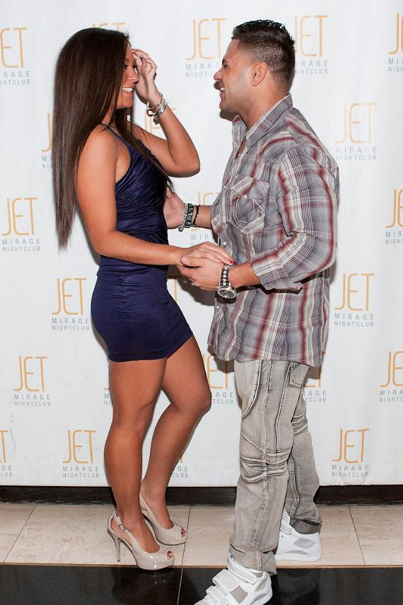 Jersey Shore's Sammi Sweetheart and Ronnie Magro on the red carpet at JET Nightclub