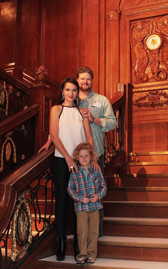Rose & family pose on the Grand Staircase at Titanic The Artifact Exhibition