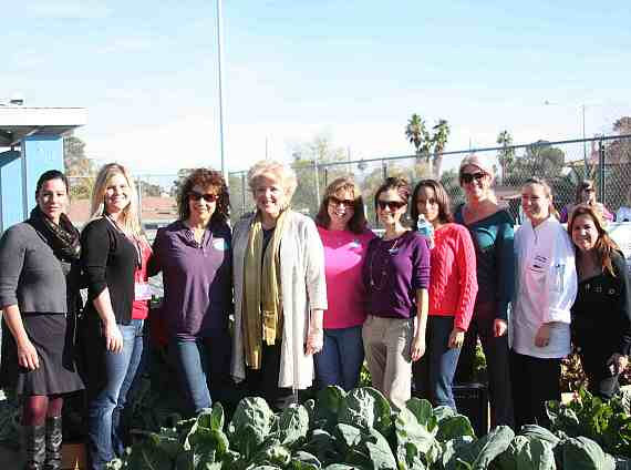 """Create a Change Now debuted the """"Whole Foods"""" edible garden at Ruby Thomas Elementary School on Monday, Dec. 3 (left to right) Diona Carrillo; Kendra Forsgren; Nancy Stone; Mayor Carolyn Goodman; Candace Maddin, president and founder of Create a Change Now; Melissa Blynn, executive director of Create a Change Now; Sonja Brown; Alexandra Reinmann; Chef Susan Wolfla and Michele Tell-Woodrow."""
