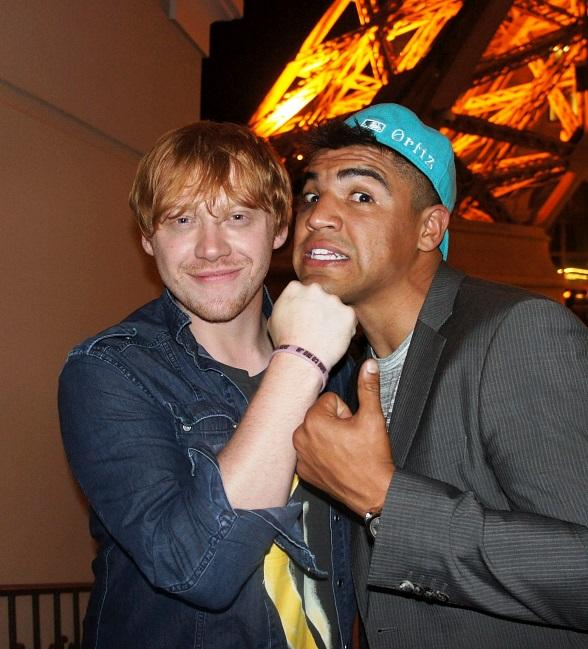 Rupert Grint and Victor Ortiz outside of Sugar Factory American Brasserie in Las Vegas