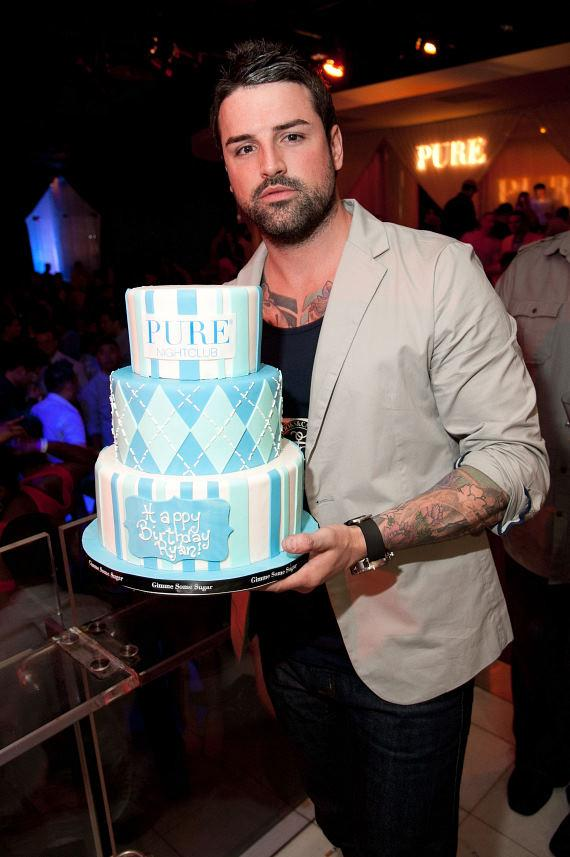 Ryan Labbe with birthday cake at PURE Nightclub