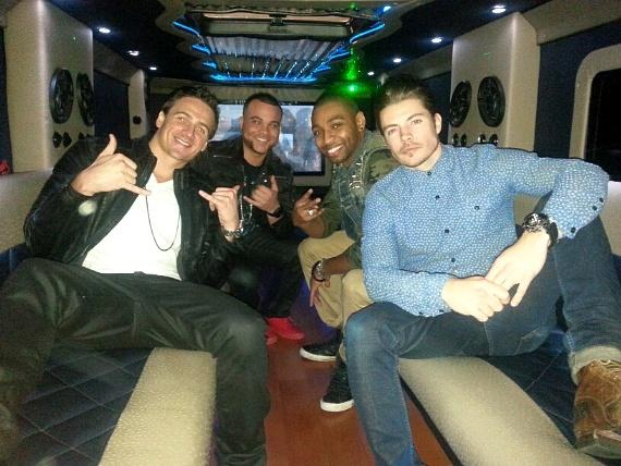 Ryan Lochte, Ed Moses, Cullen Jones and Josh Henderson party in the D's stretch limo