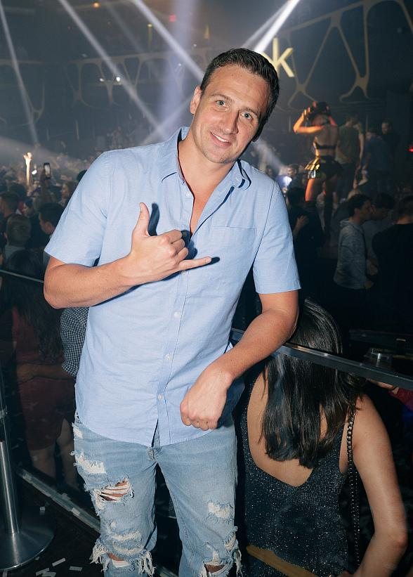 Swimmer Ryan Lochte Spotted at Hakkasan Las Vegas Restaurant and Nightclub Inside MGM Grand Hotel & Casino
