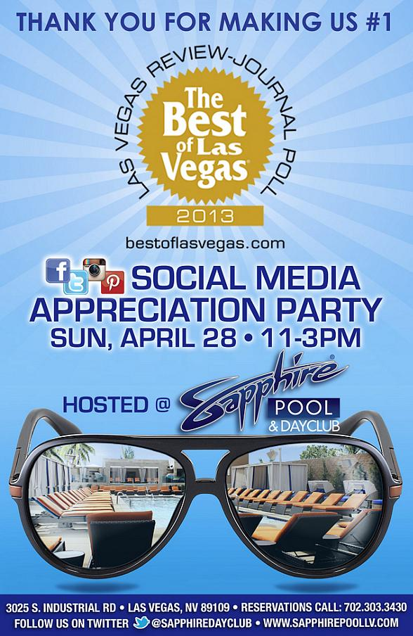 Sapphire Las Vegas to host Social Media Appreciation Party Sunday, April 28
