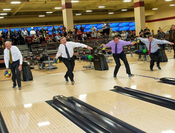Pat Christenson, Las Vegas Events president, Hugh Sinnock, LVCVA vice president of customer experience, Ryan Growney, South Point Hotel and Casino general manager and Chad Murphy, USBC executive director, break in the South Point Bowling Plaza with first official bowl.