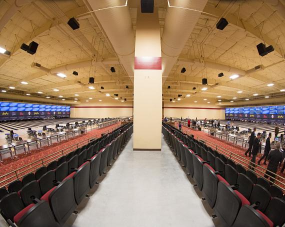 The 90,000-square-foot facility, South Point Bowling Plaza, features 60 lanes, a 360-seat viewing area and two 167-foot state-of-the-art digital displays with static and animated advertising capabilities, spanning across the two 30 lane competition floors