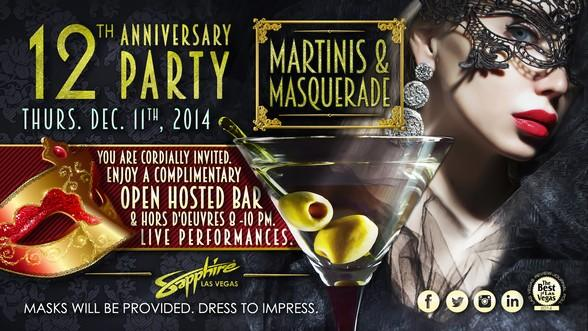 Sapphire Las Vegas Celebrates 12th Anniversary with Martini's & Masquerade Party Dec. 11