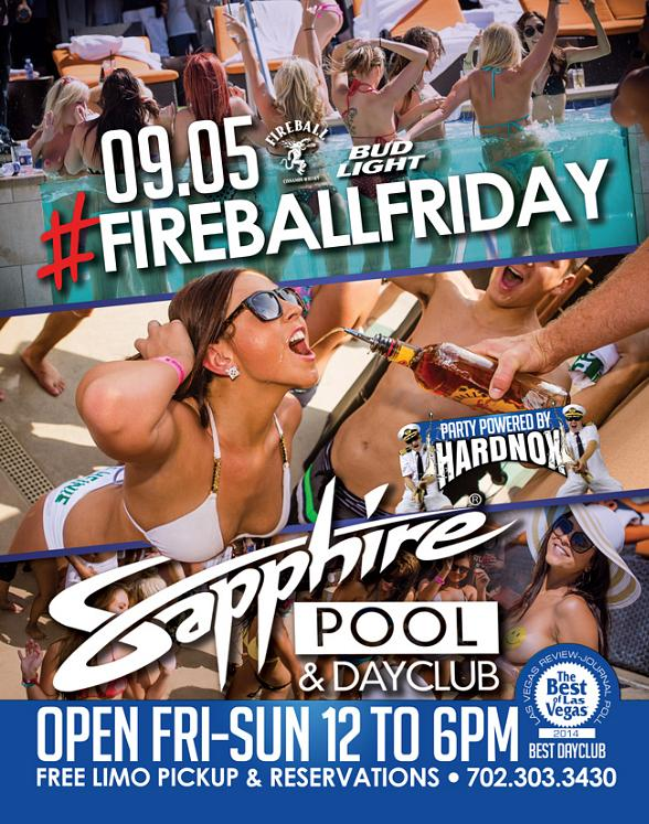 Sapphire Pool & Day Club to Host #FireballFriday with Music by HardNox Sept. 5