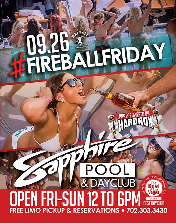 Sapphire Pool & Day Club to Host the Final Fireball Friday of the Season with Music by HardNox Sept. 26