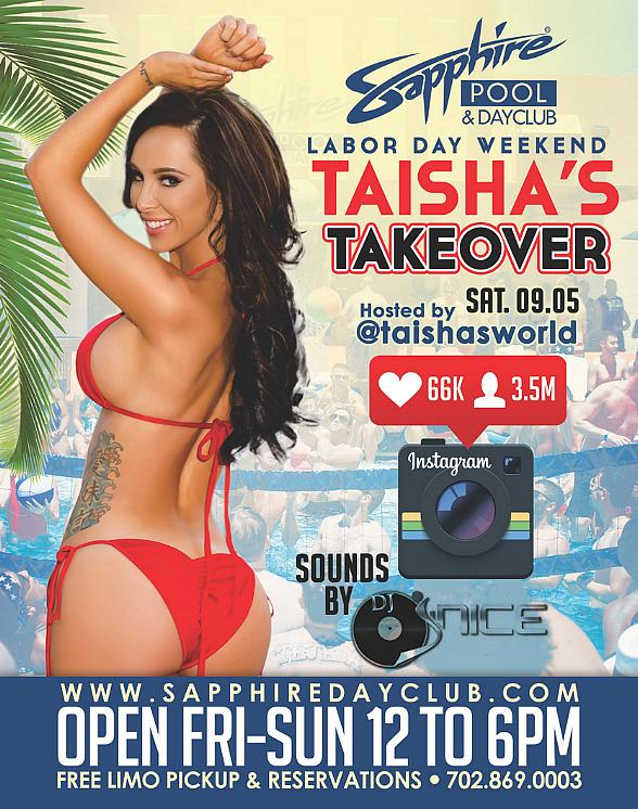 Party at Sapphire Pool & Day Club on Labor Day Weekend: Champagne Friday (9/4), Taisha's Takeover (9/5) and Departure Sunday (9/6)