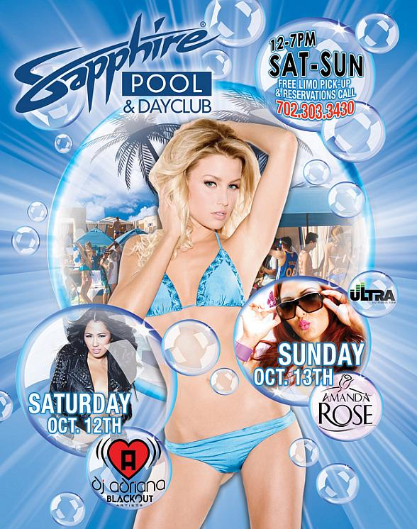 Party with DJ Adriana at Sapphire Pool & Dayclub Saturday, Oct. 12; Departure Sunday with Amanda Rose Sunday, Oct. 13