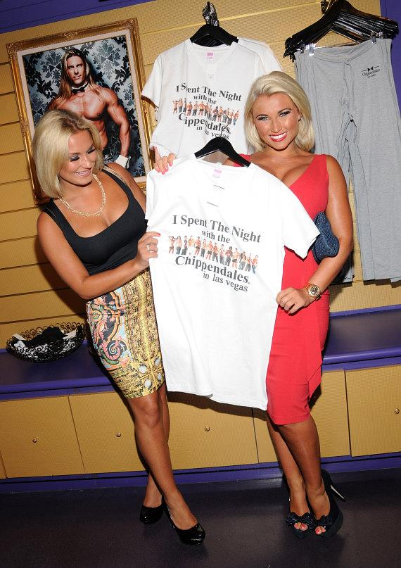 Sam & Billie check out Chippendales merchandise