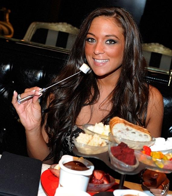 Sammi 'Sweetheart' Giancola indulges in milk chocolate fondue at Sugar Factory American Brasserie at Paris Las Vegas