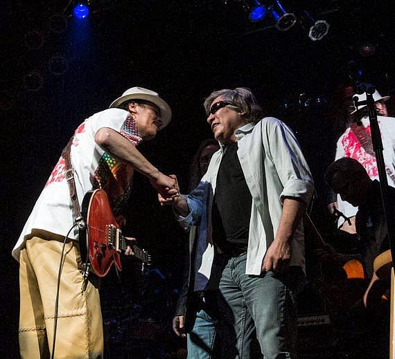 Carlos Santana with Jose Feliciano on stage at House of Blues