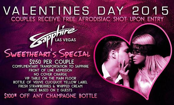 Sapphire Las Vegas creates Sweatheart's Special for Valentine's Day February 14