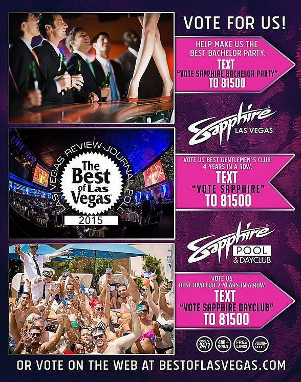 """Vote for Sapphire Las Vegas and Sapphire Pool & Dayclub in """"Best of Las Vegas"""" 2015"""