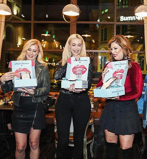 Sara Moffitt, Sabina Kelley and Emily Simpson with gifts from Beauty Kitchen by Heather Marianna