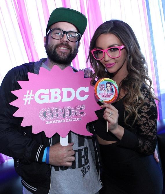 Scheana Marie and Mike Shay hanging out at Ghostbar Dayclub