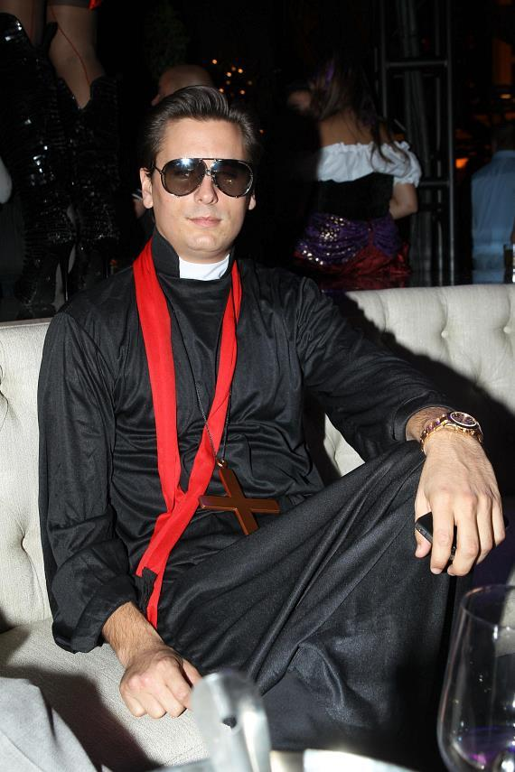 Scott Disick wears his Halloween costume, dressed as a priest, at Chateau Nightclub & Gardens