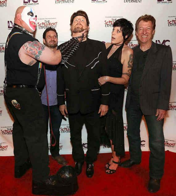 Amazing Johnathan and girlfriend/manager Anastasia Synn pose with Scorch the Clown and Freakling Bros. creators Duke and J.T. Mollner