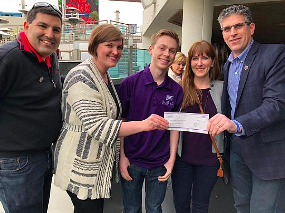 The Cosmopolitan Las Vegas donates $15,000 to the Folded Flag Foundation - Pictured: Tim Mullin, Leah Miller (The Cosmo), Owen Retzer (Folded Flag Scholarship recipient), Courtney Retzer-Vargo (Owen's Mom) and John Coogan