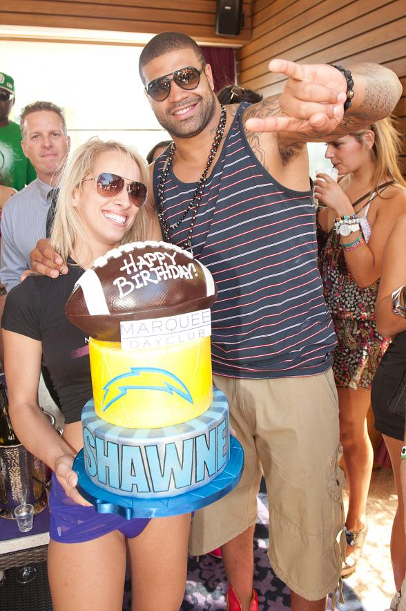 Shawne Merriman celebrates his birthday at Marquee Dayclub