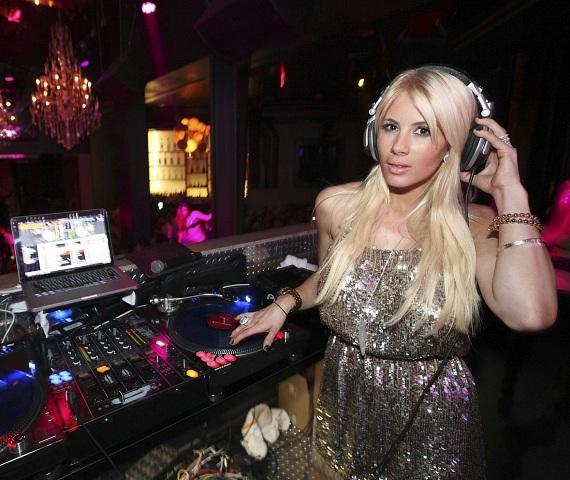 Shayne Lamas visits the DJ booth at Chateau Nightclub & Gardens