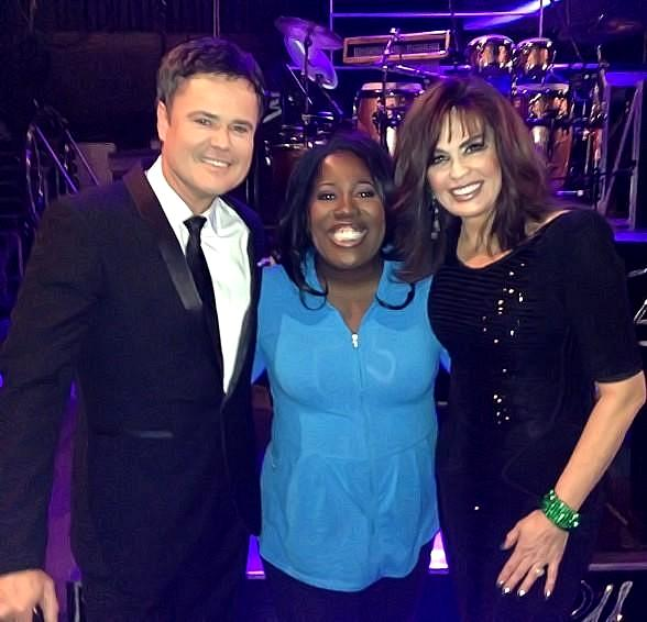 "Sheryl Underwood, one of the hosts on the television show ""The Talk,"" attended Donny & Marie's show at Flamingo Las Vegas last night. After the show, Sheryl went backstage to catch up with Donny & Marie, who are both frequent guests and special co-hosts on ""The Talk."""