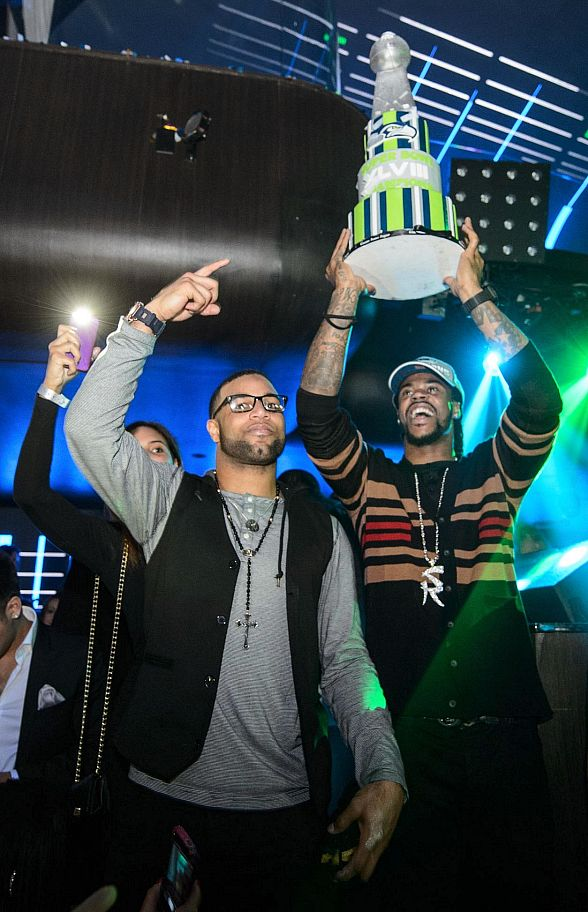 Sidney Rice with Cake at Hakkasan Nightclub