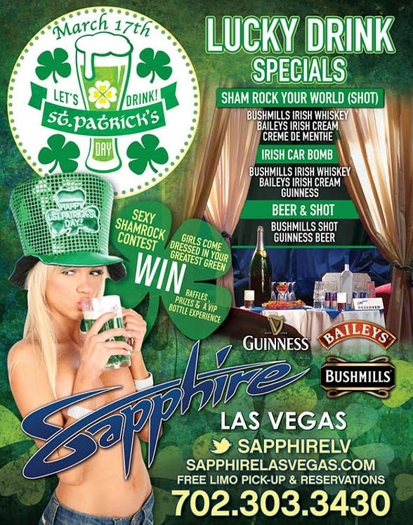 Celebrate St. Patrick's Day at Sapphire, The World's Largest Gentlemen's Club, Monday, March 17