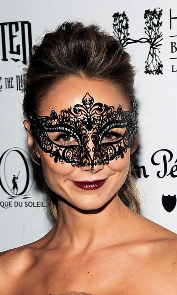 Stacy Keibler's mask at Halloween masquerade at Hyde Bellagio, Las Vegas